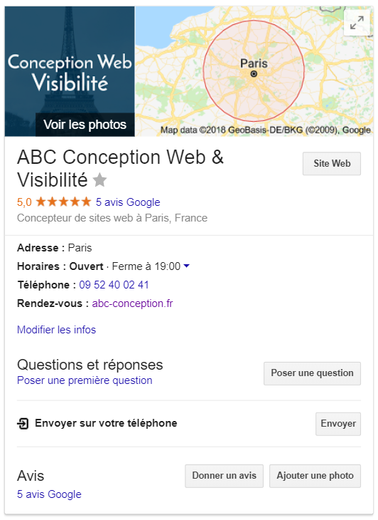Capture d'écran fiche Google My Business